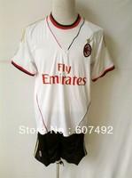 13/14 newest  AC milan kits,AC milan white  uniforms embroidery logo, SOCCER uniforms,loest price good qualiy!