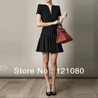 2013 New Women's fashion Deep V-neck Sexy Dresses Office lady's one piece Slim brand skirt Novelty Shirts Party's gown