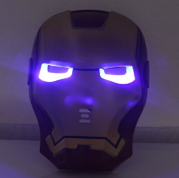 Cool Cosplay Glowing Iron Man Mask w/ Blue LED Eyes Halloween Make up Toy for Kids Boys(China (Mainland))