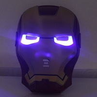 Cool Cosplay Glowing Iron Man Mask w/ Blue LED Eyes Halloween Make up Toy for Kids Boys