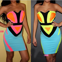 Hot Sale Geometric Patchwork Neon Fluorescent One-piece Dresses Ladies Stretch Sheath Club Party Sexy Mini Dress 2013