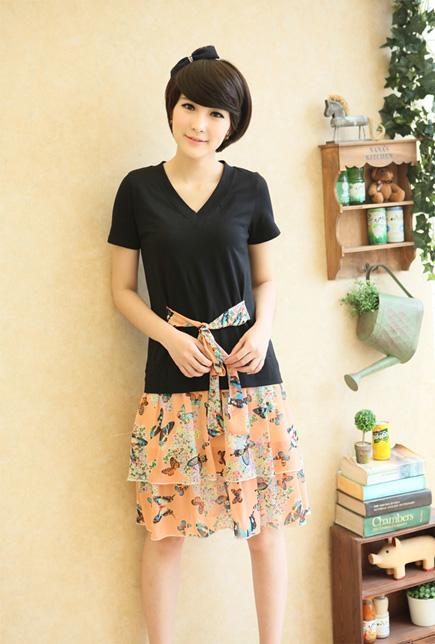 2014 New Limited Cute [drop Shipping] Women's Clothing Sweet Belt Fault Two Piece Dress,women Fashion Dresses ,l/xl/xxl/xxxl(China (Mainland))