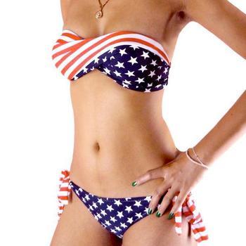 2013 Fashion American Flag Hot Sexy Bikini For Women's Stars And Stripes Swimwear Bandage PADDED TWISTED BANDEAU Tube Swimsuits