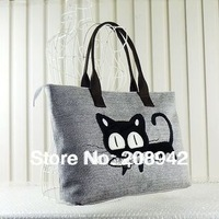 Personality Ladies Casual Cute Cat Linen canvas bag casual fashion handbags Free Shipping