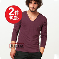 All saints heart-shaped collar solid color V-neck basic shirt male slim long-sleeve T-shirt plus size spring men's clothing
