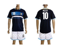 #10 MESSI 12-13 Argentina away dark blue soccer football jersey + short kits, best quality soccer uniforms+embroidery,free ship(China (Mainland))