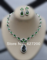 Emerald necklace earrings set,Water droplets collarbone chain ,Dinner PARTY dress accessories ,