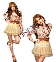 Fashion Women Stylish Long sleeve Chiffon Floral Bowtie Tunic Tulle Mini Dress New With Belt  2799
