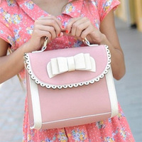 Free Shipping 2014 bow princessKorean version sweet and cute candy colored lace bow portable diagonal handbags cosmetic  color