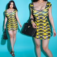 Fashion new For dec  orative pattern bright yellow slim  lady dress