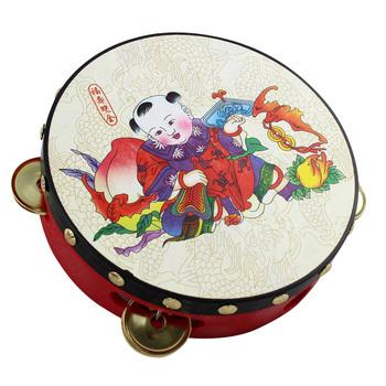 Hand drum tambourine baby rattle lucky pattern toy musical instrument diameter 15.5cm