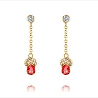 CDE 2013 New Arrival Fashion Jewelry 18K Gold Long Crystal Pendant Ruby Dangle Earring E0293B