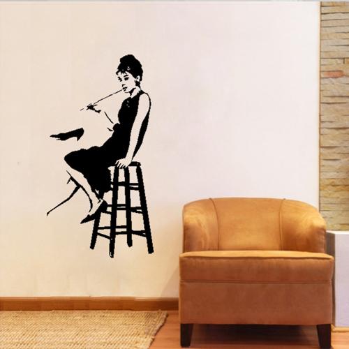 Art audrey hepburn window promotion online shopping for for Audrey hepburn mural