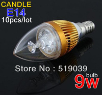 HOT! Sale 10x E14 E12 E27 9W High Power Candle Screw Base White/ Warm White/Cool White Candle Led Lamp 110V/220V Free shipping