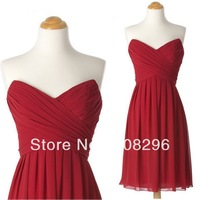 2013 Custom Made  Simple A Line Maunfactures Dresses Sweetheart Sleeveless Ruched Chiffon Knee Length Zipper Bridesmaid Gowns