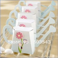 Promotion Sale New arrival 40pcs/lot wedding favor box Garden Watering Can Favor Box Kit with Flower Appliqu