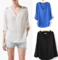new fashion 2013 S M L Women's Girl V Neck Trendy Metal Rivet Shoulder Chiffon Shirt Blouse Top free shipping