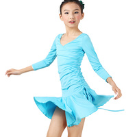 Phil 2013 long-sleeve drawstring waist Latin dance practice skirt one-piece dress fy050