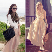 2012 women's nude color half-length full dress double layer