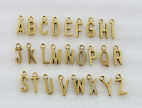78PCS Assorted Antiqued gold plate alphabet letter charms #23047