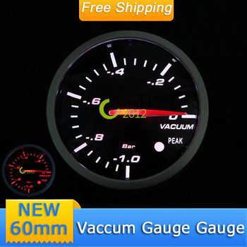 Free Shipping Car Auto 60mm Vaccum Gauge Black Face 12V White Red LED