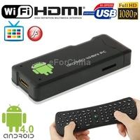 Mini Android 4.0 TV Box Multi-media Player w 4GB ROM WIFI HDMI USB 2.0 MINI USB OTG Slot Support 2.4GHz Wireless Keyboard Mouse