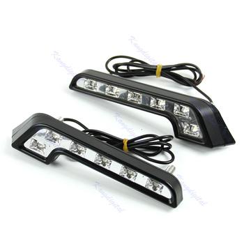 D191pair  6 LED White Universal Car Auto Driving Lamp Fog 12V DRL Daytime Running Light