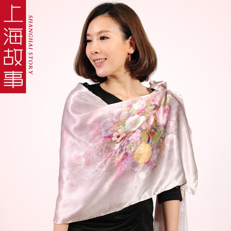Quality silk long silk scarf women's mulberry silk scarf cape flowers(China (Mainland))
