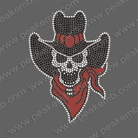 30pcs/Lot Super Custom Design Skull Iron On Transfers Rhinestone Applique Hot Fix Motif For Garment Free Shipping