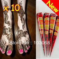 10Pcs 100% New Natural Henna Tattoo Art Paste Temporary Tattoo Brown 35g