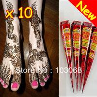 10Pcs 100% New Natural Henna Tattoo Art Paste Temporary Tattoo Brown 35g