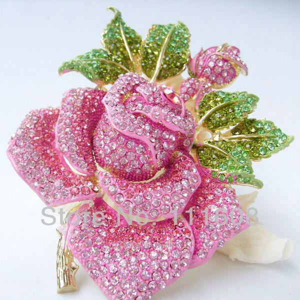 "5.12"" Gorgeous Pink Rhinestone Crystal Rose Flower Brooch Pin Costume Jewelry EE02994C12(China (Mainland))"
