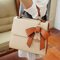 Bags 2013 spring and summer women's handbag bow color block women's handbag small fresh one shoulder handbag shaping bag female