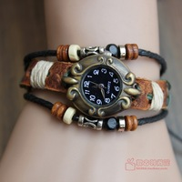 2013 New Genuine Leather Women Bracelet Watch Vintage Girls Cute student table vintage table,Fashion leather bracelets table
