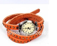 2013 Free Shipping New Arrival Punk Cow Leather winding women Watches 100% Excellent Quality Christmas Holiday Ribbon jewelry