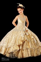 2013 Sexy Halter Flower Girl Dresses with Beading Sequins and Ball Gown Gold Shiny Pageant Dresses