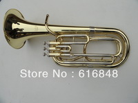Wholesale - professional 3 straight key Bb bass,tenor French Horn is golden