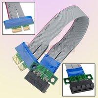 30pcs/lot Wholesale HOT Sale PCI-E 1X Slot Riser Card Extender Extension Ribbon Flex Relocate Cable,15cm lenght, Free Shipping