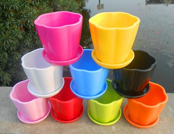 free shipping thickening flower pot pumpkin ceramic plastic flower pot