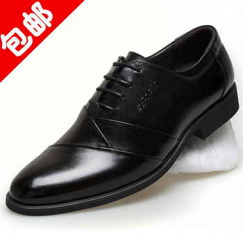 Fashion business formal leather genuine leather the first layer of leather pointed toe lacing low male shoes