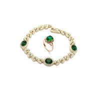Charming Hot 18K Gold Plated Emerald Green Austrian Crystal Jewelry Set With Rhinestones Ring Bracelet