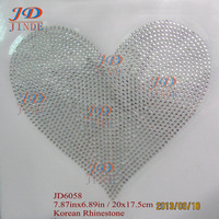 20pcs/lot Hotfix Rhinestone Iron On Transfers 7.87 Inches Big Heart Designs DIY For T-Shirt Factory Direct
