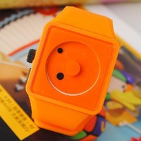 10PCS New Famouse Mixed colors Rubber Square Two Dots Smile Creative Dial Indicators Wrist Watch For Lady Children Free Shipping