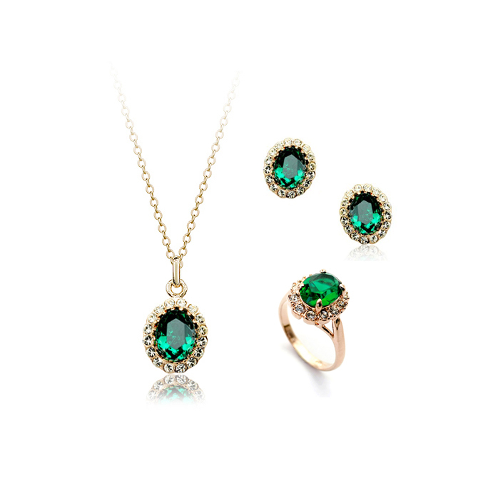 Charming Hot 18K Gold Plated Emerald Green Austrian Crystal Jewelry Set With Rhinestones Earrings Necklace Bracelet(China (Mainland))