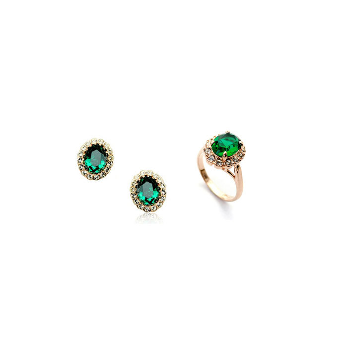 Charming Hot 18K Gold Plated Emerald Green Austrian Crystal Jewelry Set With Rhinestones Earrings Ring(China (Mainland))