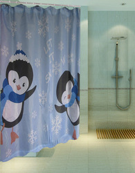 Penguin js4485 thickening terylene cloth waterproof bathroom shower curtain christmas shower curtain(China (Mainland))