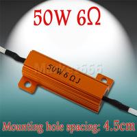 2pcs 50 W 6 R Gold Tone Aluminium Housed Clad Load Resistor 6 ohm 6 R