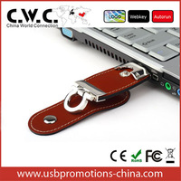 Hongkong post free shipping high quality leather usb flash drive with original flash chip wholesale