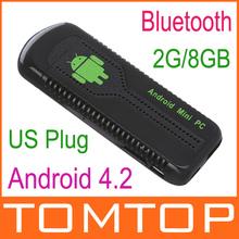 US Plug  Mini PC Android 4.2 Google TV stick Box Quad Core RK3188 2G/8GB Bluetooth HD1080P Wifi UG007B free shipping(China (Mainland))