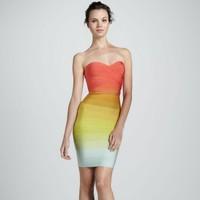 2015 New arrival women orange gradually shift color off the shoulder tube bandage dress designer sexy celebrity party  HL8810